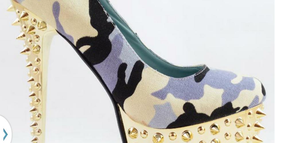 Camflouge Heel with Spikes