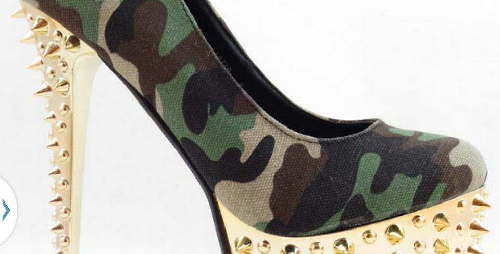 Green Camoflauge Spiked Heel