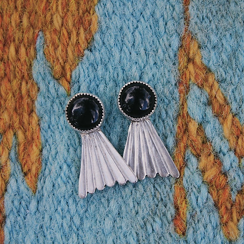 onyx fan earrings