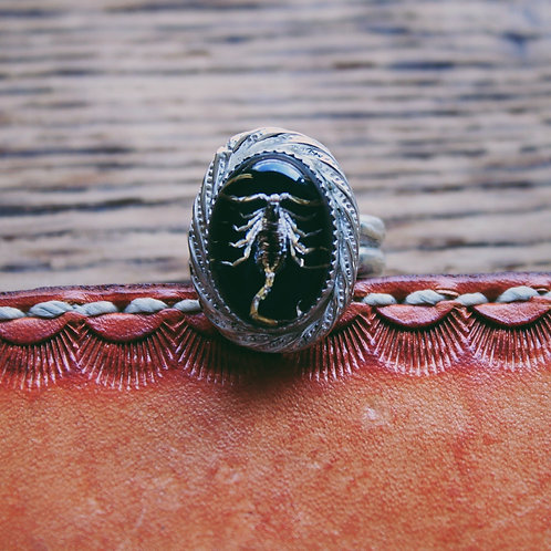 black scorpion ring with wire trim