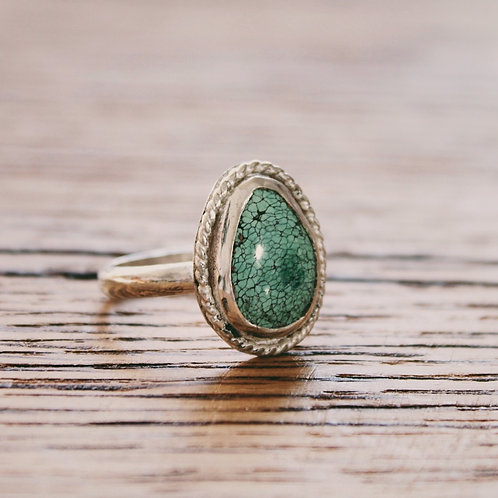 turquoise teardrop ring 9.25