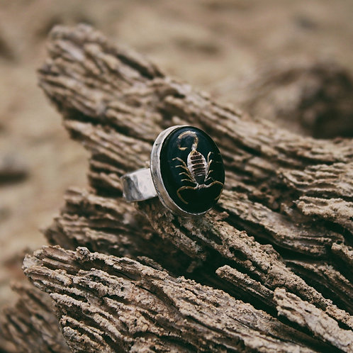 black scorpion ring