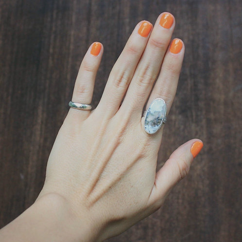 dendritic agate ring 5.75