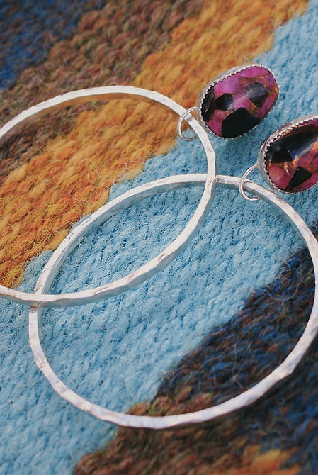 pink calcite + obsidian hammered hoops