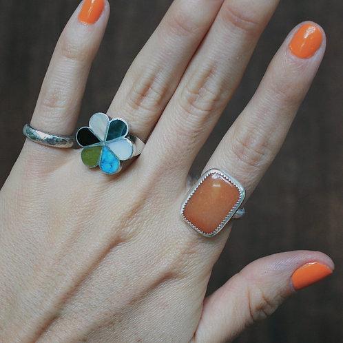 orange agate ring 6.25