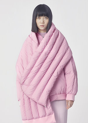 Padded bomber with scarf