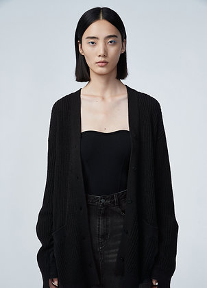 Knitted cardigan in black