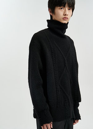 Destructed alpaca sweat in black