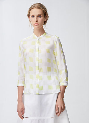 Silk blouse in yellow check
