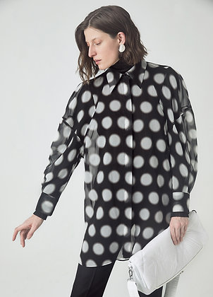 Silk blouse in polka dot print