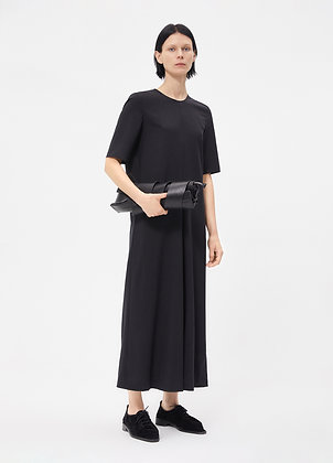 Maxi wool dress in black