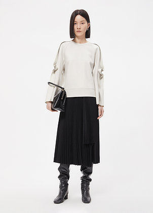 Pleated skirt in abstract print