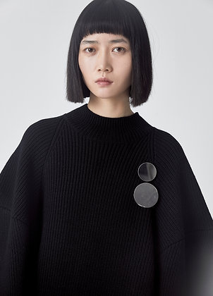 Knitted wool dress in black