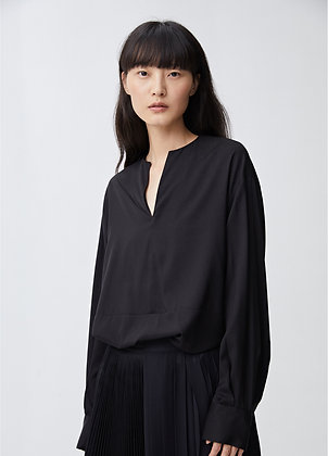 Silk blouse with drawstring hem