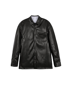 Puffer faux leather jacket