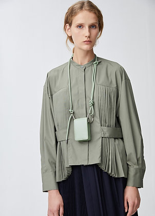 Blouse with side pleats