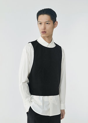 Wool vest in black