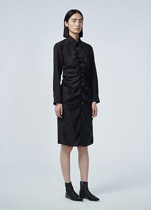 Silk dress with button front in black