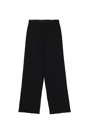Ribbed wool trousers in black