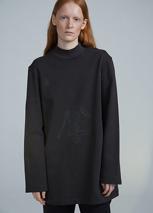 High neck sweatshirt with prints