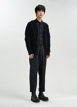 Oversized tapered trousers in black