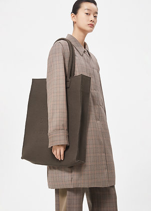 Checked padded wool coat