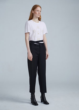 Wool tapered trousers