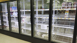 Empty shelves after a disaster