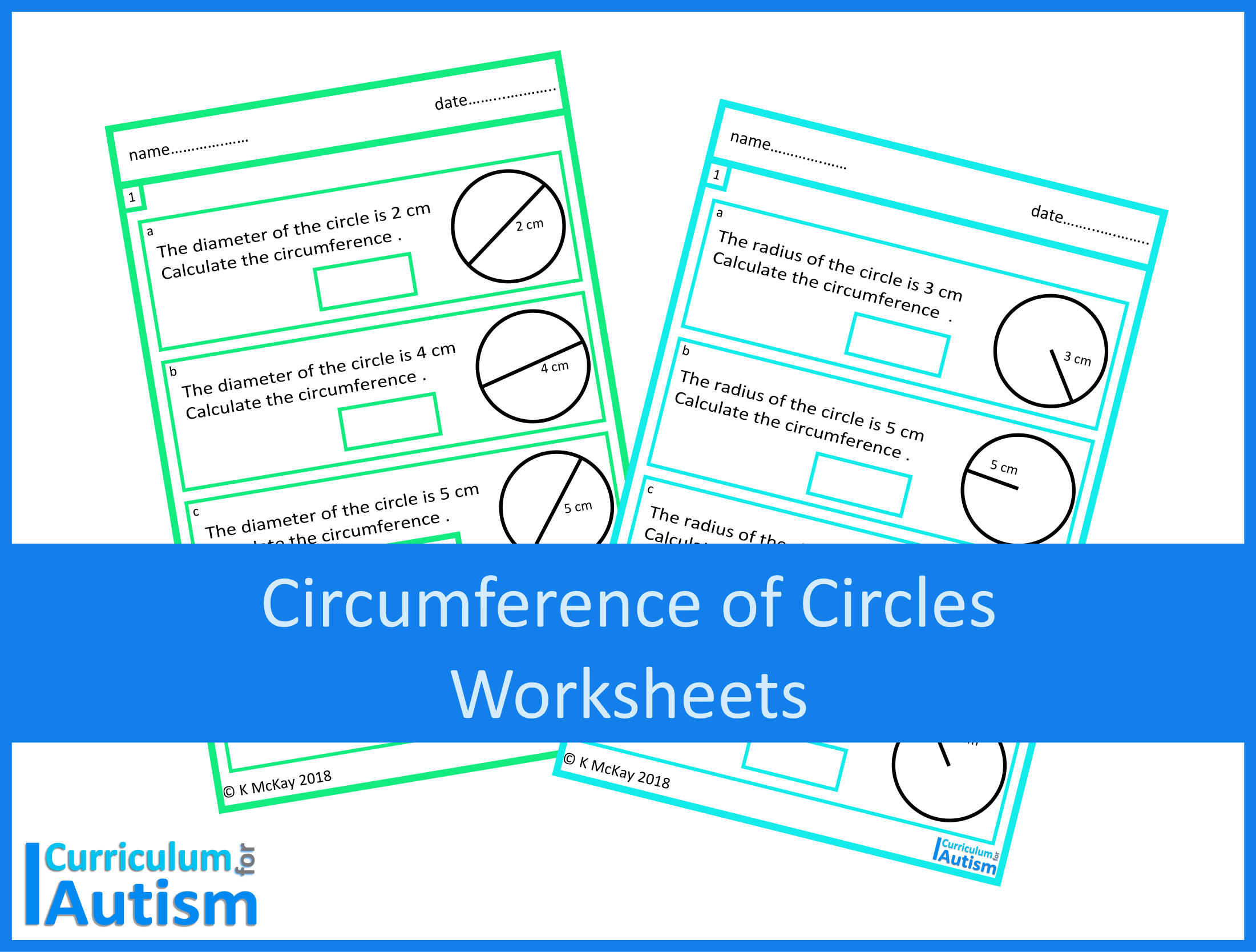 Calculating the Circumference of Circles Worksheets Digital Download