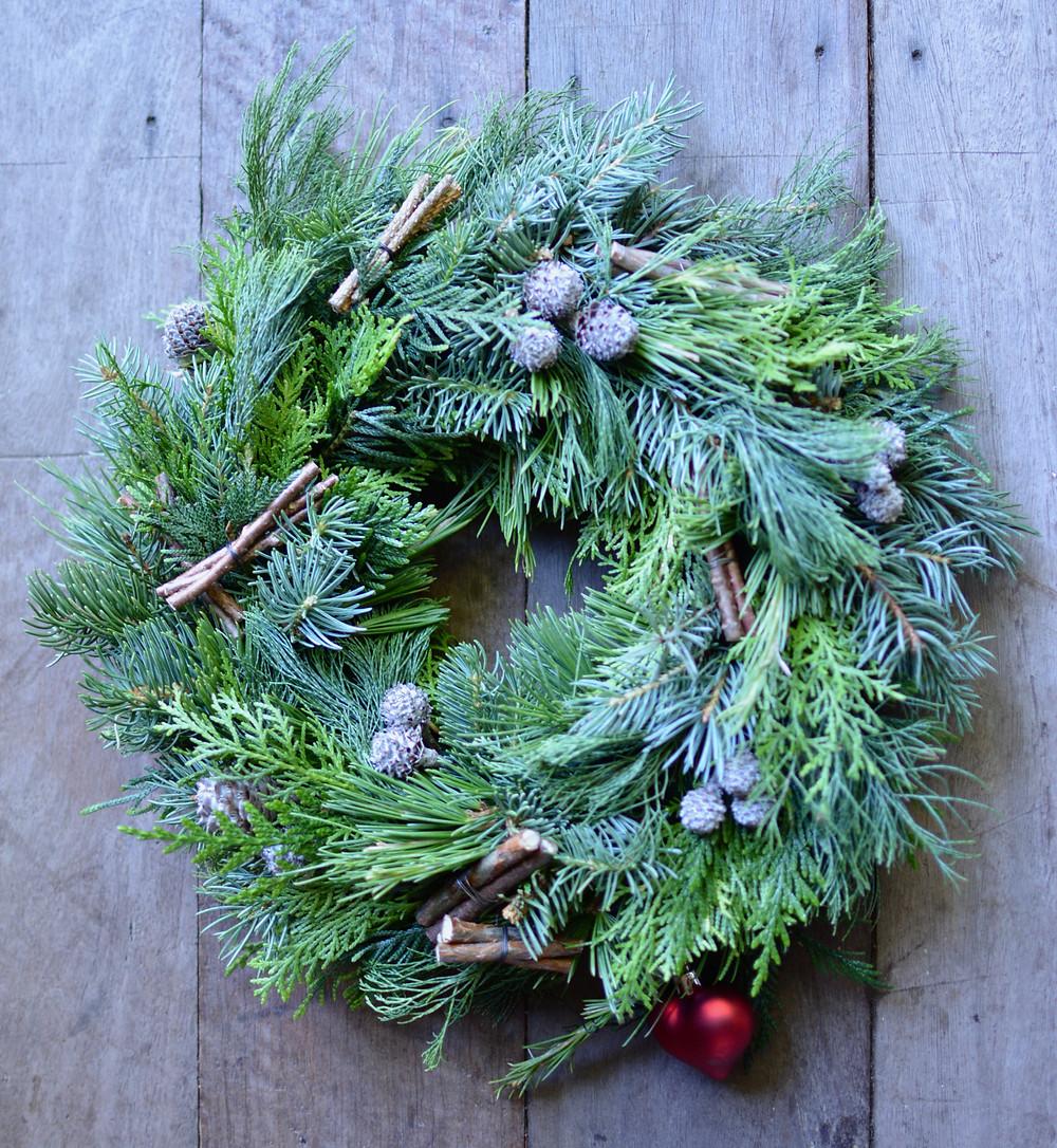 Traditional Christmas wreath Daisy Hill Flowers