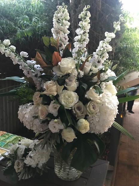 Classic whites - Delpheniums, Roses, Hydrangea & Lisianthus