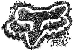metal head artwork created from found junkyard objects