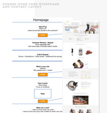 Wireframe for previous home page