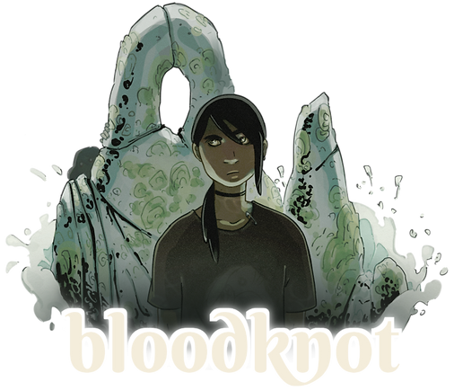 Home Page Button: Bloodknot comic. Luke suspiciously looks to side at shape hiding behind rocks.