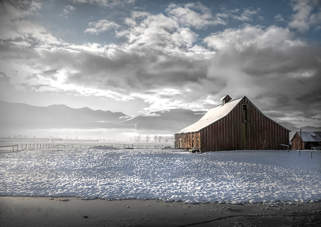 Old Toop Barn in Snow, Chilliwack - Architectural Photography