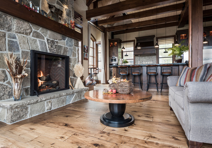 Country Style Living Room Fireplace - Interiors Photography