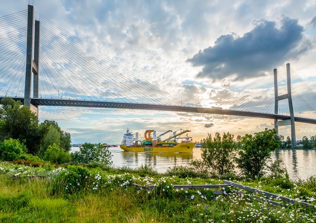 Alex Fraser Bridge and Big Lift ship - Industrial Photography
