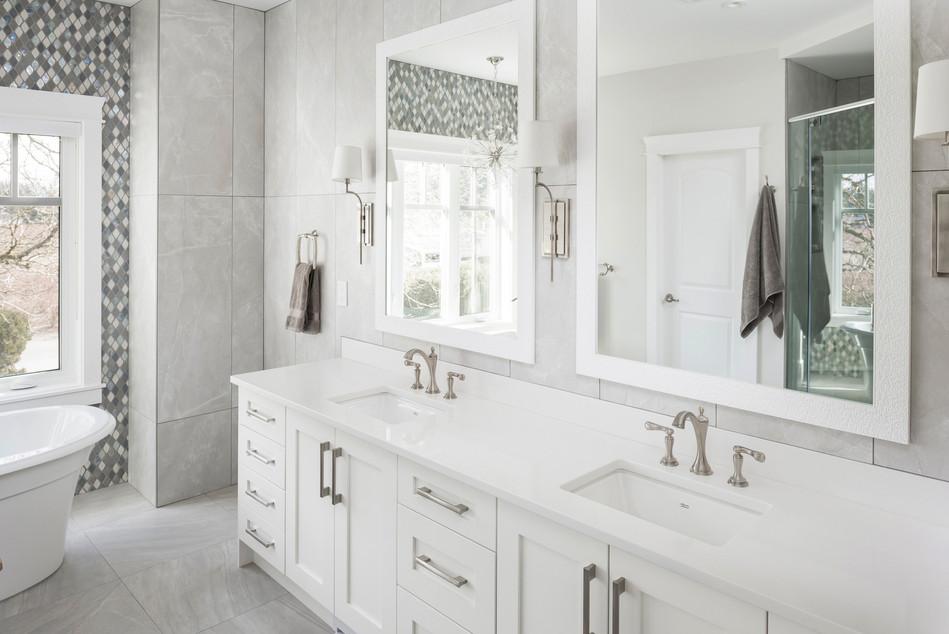 White Double Sink Bathroom - Interiors Photography