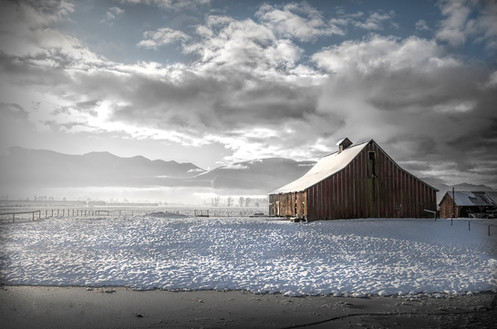 Old Barn in Snow Chilliwack BC - Architectural Photography