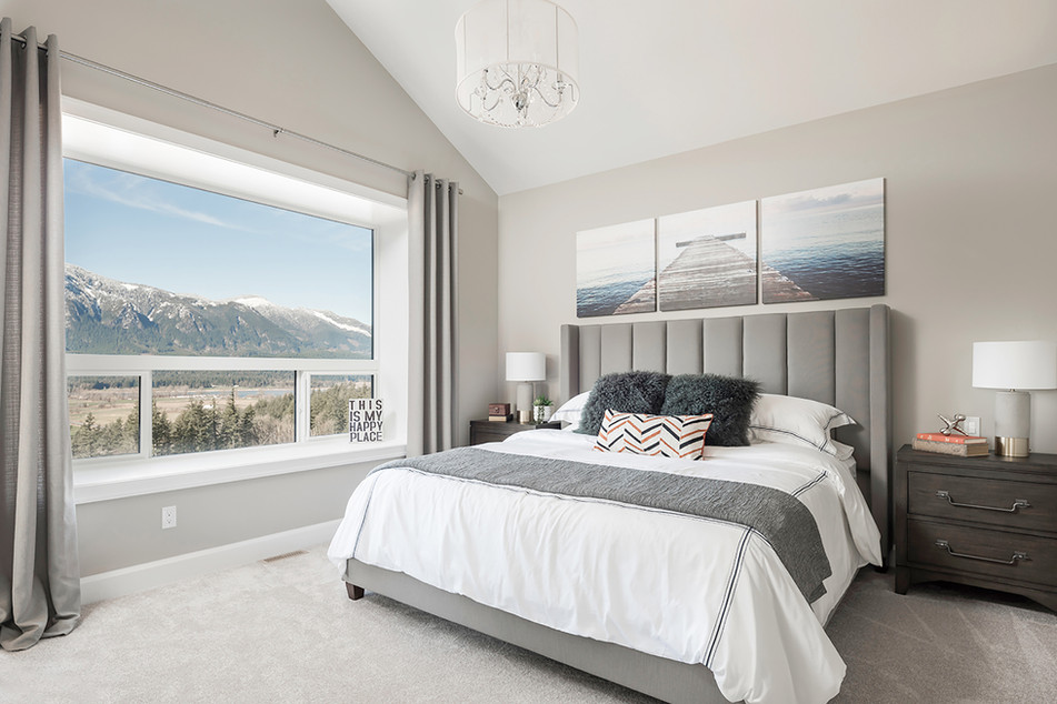 Modern King Size Bed with Mountain View - Interiors Photography