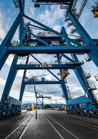 Container Ship Cranes - Industrial Photography