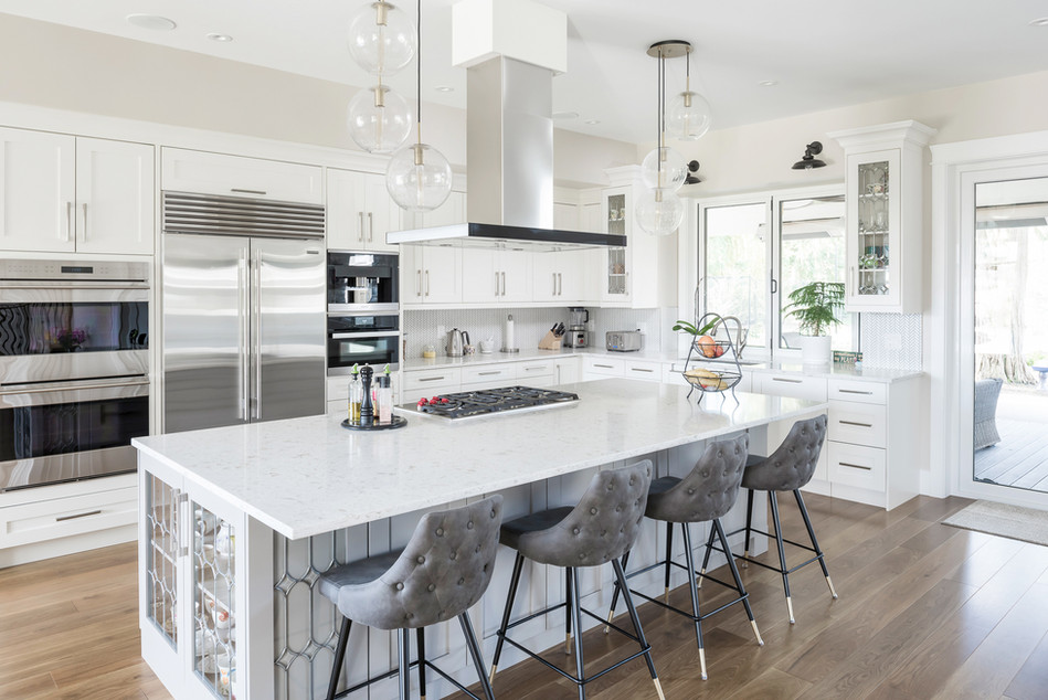 White Kitchen Large Quartz Island - Interiors Photography