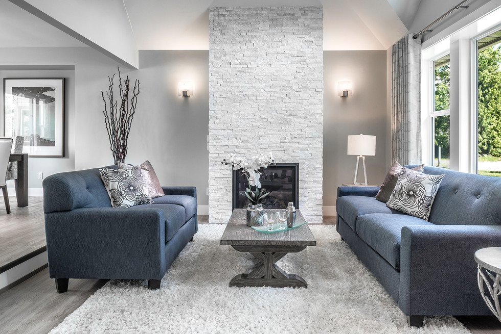 Blue Furniture White Fireplace - Interiors Photography