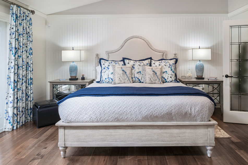 Bed with Blue Designer Pillows - Interiors Photography