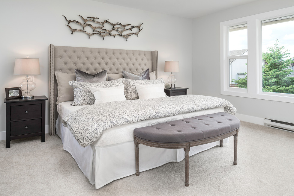 Modern King Size Bed with Headboard - Interiors Photography