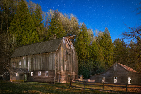 Old Barn Twilight - Architectural Photography