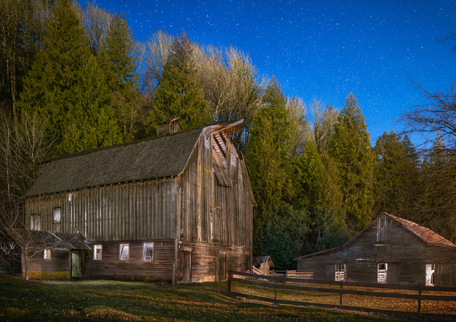 Old Barns at Twilight - Architectural Photography
