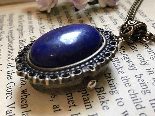 Lapis Lazuli Gemstone Watch Necklace Bronze