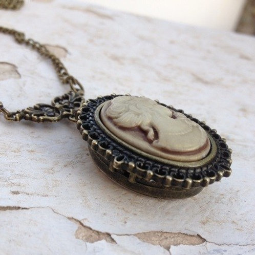 Cameo Watch Necklace Bronze