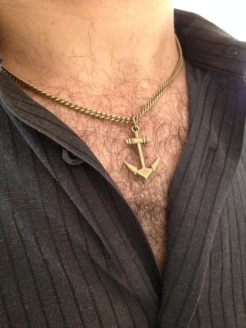 Mens Anchor Bronze Necklace